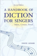 A handbook of diction for singers David ADAMS Livre laflutedepan.com