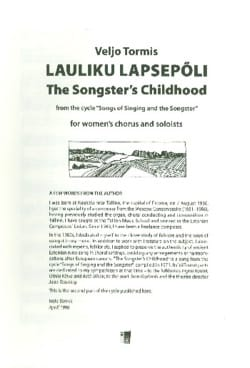 Veljo Tormis - Lauliku Lapsepoli - Partition - di-arezzo.com