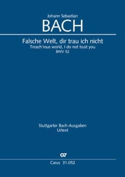BACH - Cantate 52 Falsche Welt, dir trau ich nicht - Partition - di-arezzo.fr