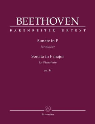 BEETHOVEN - Sonate pour piano n° 22 en Fa majeur Op. 54 - Partition - di-arezzo.fr