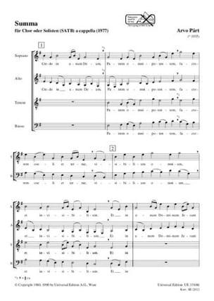 Summa - Arvo Pärt - Partition - Chœur - laflutedepan.com