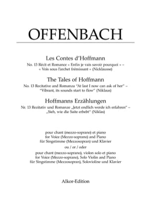 Jacques Offenbach - See beneath the quivering bow. Hoffman's Tales - Sheet Music - di-arezzo.com