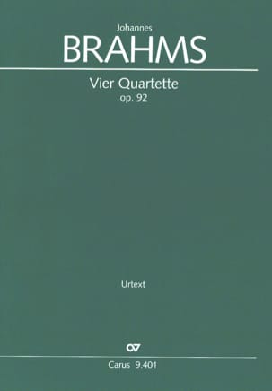 Johannes Brahms - 4 Quartet Opus 92 - Partition - di-arezzo.co.uk