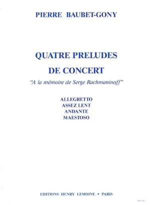 Baubet-Gony - 4 Concert Preludes - Sheet Music - di-arezzo.co.uk