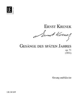 Ernst Krenek - Gesänge des Späten Jahres Op. 71 - Partition - di-arezzo.fr