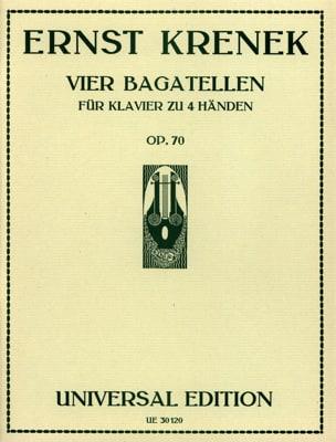 4 Bagatelles Op. 70. 4 Mains - Ernst Krenek - laflutedepan.com