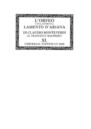 Claudio Monteverdi - The orfeo / Lamento D'ariana. OC11 - Sheet Music - di-arezzo.co.uk