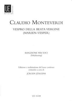 Claudio Monteverdi - Vespero Della Beata Vergine. - Partition - di-arezzo.fr