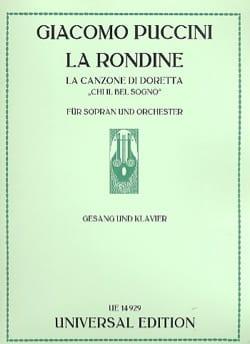 Giacomo Puccini - la Canzone Di Doretta. La Rondine - Partition - di-arezzo.fr