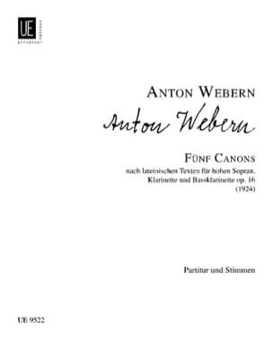 5 Canons Opus 16 WEBERN Partition Clarinette - laflutedepan