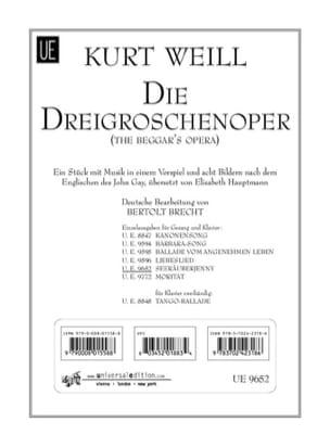 Kurt Weill - Seeräuberjenny. Die Dreigroschenoper - Partition - di-arezzo.fr