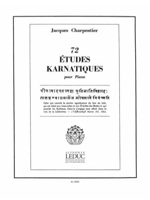 Jacques Charpentier - 72 Etudes Karnatiques 2° Cycle - Partition - di-arezzo.fr