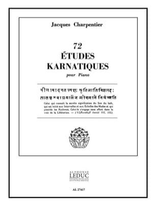 72 Etudes Karnatiques. 9° Cycle CHARPENTIER Partition laflutedepan