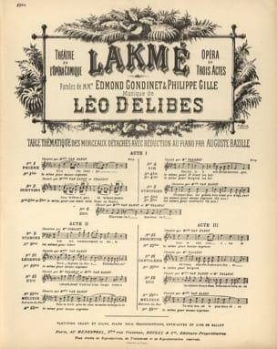 Légende Du Paria. Lakmé. Mezzo. - Léo Delibes - laflutedepan.com