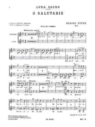 O Salutaris. Opus 9-1 - Marcel Dupré - Partition - laflutedepan.com