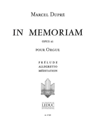 In Memoriam Op. 61 - Volume 1 - Marcel Dupré - laflutedepan.com