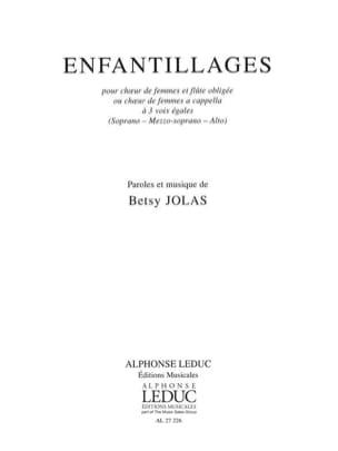Betsy Jolas - Enfantillages - Partition - di-arezzo.fr