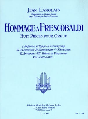 Jean Langlais - Tribute to Frescobaldi - Sheet Music - di-arezzo.com