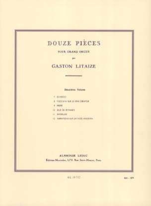 12 Pièces. Volume 2 Gaston Litaize Partition Orgue - laflutedepan