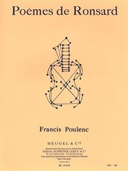 Poèmes de Ronsard POULENC Partition Mélodies - laflutedepan
