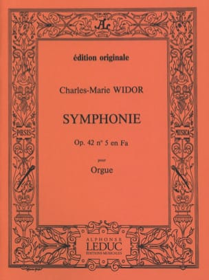 Symphonie n° 5 Opus 42 WIDOR Partition Orgue - laflutedepan