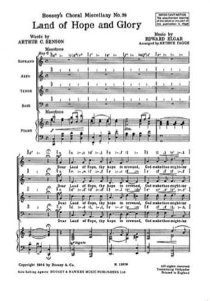 Land Of Hope And Glory - ELGAR - Partition - Chœur - laflutedepan.com