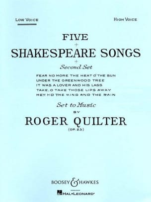 5 Shakespeare Songs Opus 23. Voix Grave Roger Quilter laflutedepan