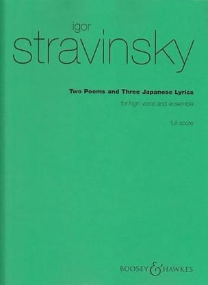 Igor Stravinski - 2 Poems, 3 Japanese Lyrics. Conducteur - Partition - di-arezzo.fr