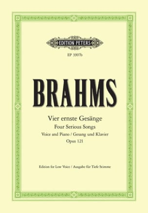 BRAHMS - 4 Ernste Gesänge Opus 121. Serious Voice - Sheet Music - di-arezzo.co.uk