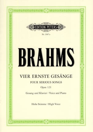 4 Ernste Gesänge Opus 121. Voix Haute BRAHMS Partition laflutedepan