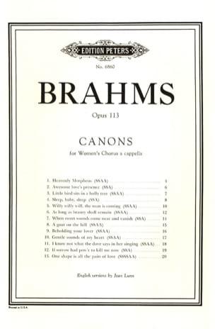 Kanon Op. 113 Anglais BRAHMS Partition Chœur - laflutedepan