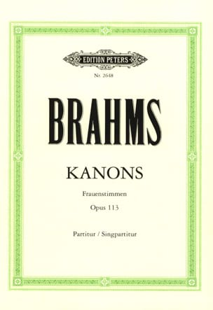 BRAHMS - Kanons Opus 113 - Partition - di-arezzo.fr