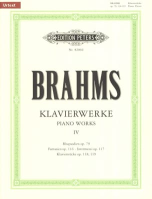 BRAHMS - Oeuvres Pour Piano Volume 4 - Partition - di-arezzo.fr