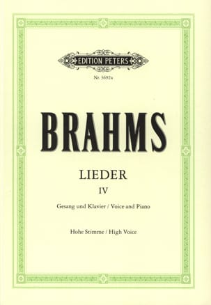 BRAHMS - Lieder Volume 4 High Voice - Sheet Music - di-arezzo.co.uk