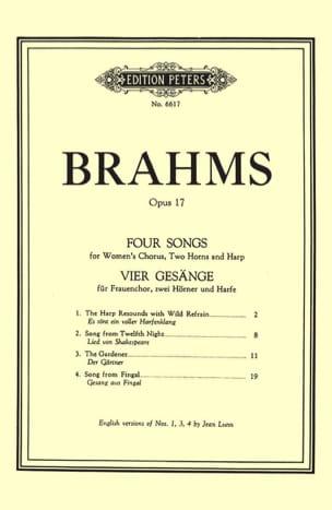 BRAHMS - 4 Gesänge Opus 17 - Partition - di-arezzo.fr