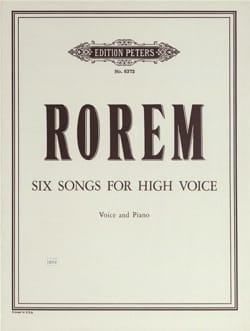 6 Songs Ned Rorem Partition Mélodies - laflutedepan