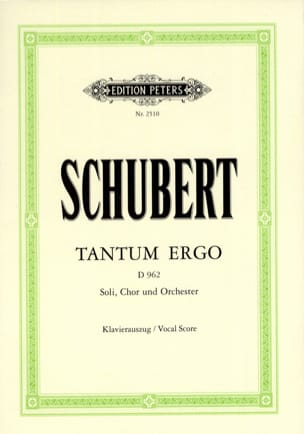 SCHUBERT - Tantum Ergo D 962 - Sheet Music - di-arezzo.co.uk