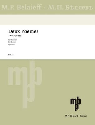 2 Poèmes Op. 44 SCRIABINE Partition Piano - laflutedepan