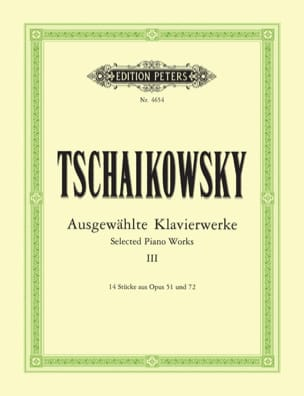 Oeuvres Pour Piano Volume 3 TCHAIKOVSKY Partition Piano - laflutedepan