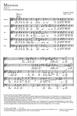 Miserere - Gregorio Allegri - Partition - Chœur - laflutedepan.com