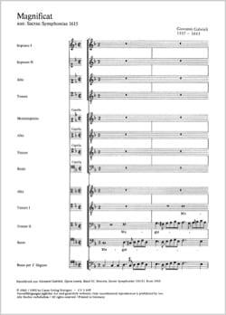 Magnificat a 12 voci Giovanni Gabrieli Partition Chœur - laflutedepan