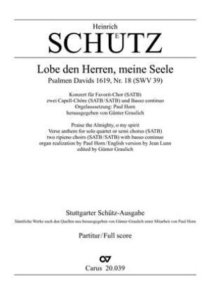 Lobe Den Herren, Meine Seele Swv 39 - laflutedepan.com