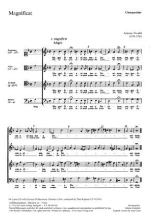 VIVALDI - Magnificat RV 610. Choir - Sheet Music - di-arezzo.com