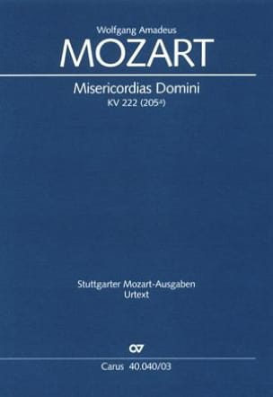 MOZART - Misericordias Domini KV 222 (205a) - Partition - di-arezzo.fr