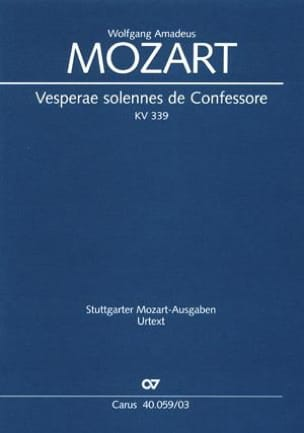 MOZART - Solemn Vespers of a Confessor - K 339 - Sheet Music - di-arezzo.co.uk