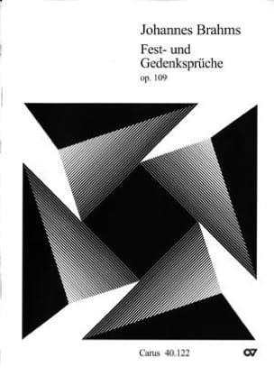 Johannes Brahms - Fest Und Gedenksprüche Opus 109 - Partition - di-arezzo.fr
