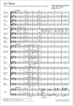 MENDELSSOHN - Ave Maria Opus 23-2. MWV B 19 - Partition - di-arezzo.fr