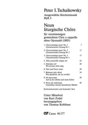 9 Liturgische Chöre - TCHAIKOVSKY - Partition - laflutedepan.com