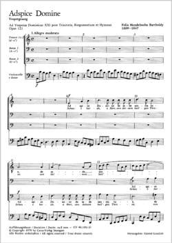 Adspice Domine Opus 121 MENDELSSOHN Partition Chœur - laflutedepan