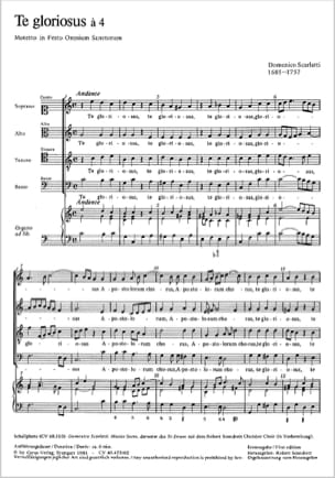 Te gloriosus à 4 Domenico Scarlatti Partition Chœur - laflutedepan